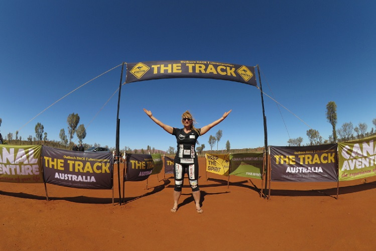 At the finish line of the 530 km THE TRACK Outback ultramarathon in Australia