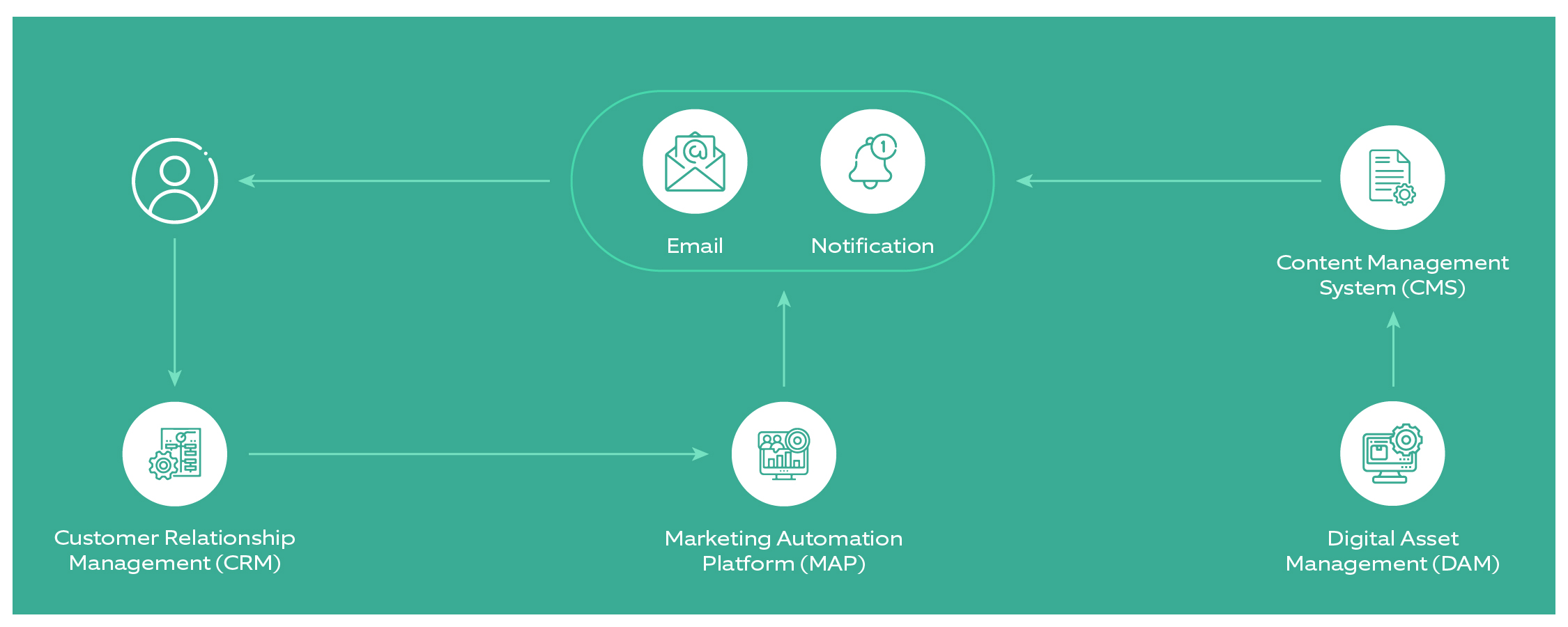 Martech - representing Audience, CRM, MAP, Marketing Tools (Email, Content, Mobile, Search and Social) and CMS/DAM