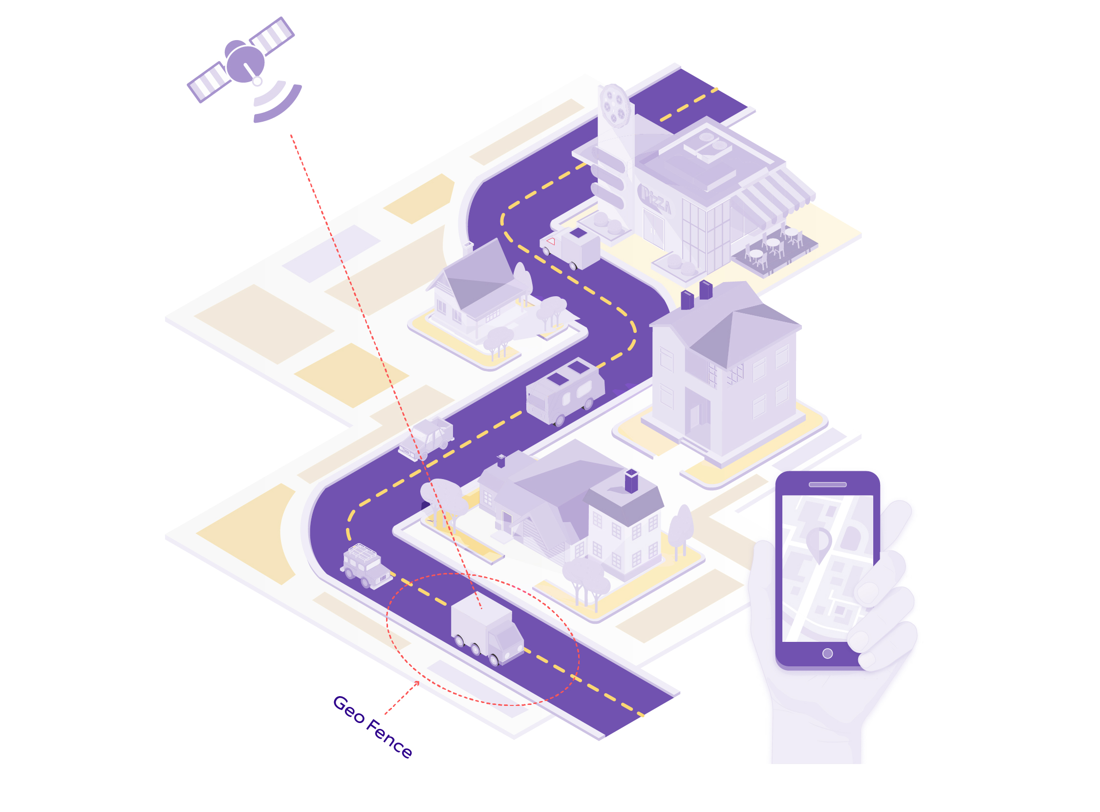 An illustration depicting how geofencing technology works