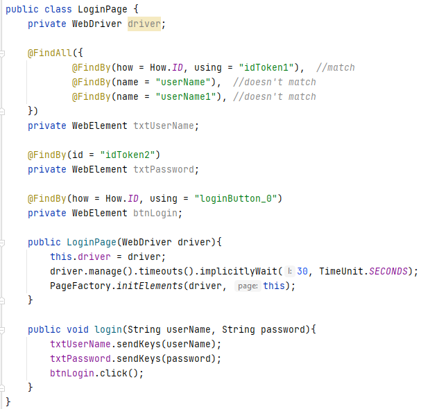 Design pattern in test automation – Page object class for login web page