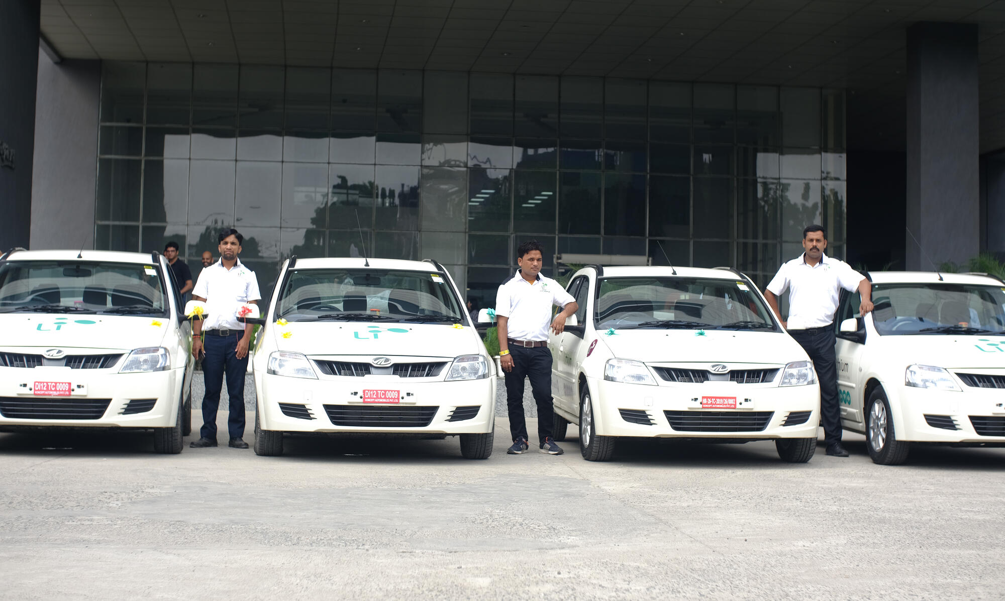 electric vehicles lined up outside Nagarro Gurgaon office